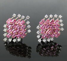 Estate Zydo Blooming 10.0ct Pink Sapphire & 1.30ct Diamond 18K Gold Earrings