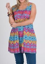 Plus Sizes Sleeveless Bright Top/tunic Pintuck at The Front 100 Cotton Size 22