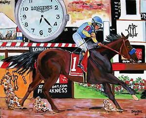 Horse Racing Original Art PAINTING DAN BYL American Pharoah Triple Crown 4x5ft