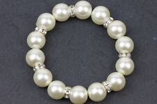 Stretch Pearl Bracelet Simulated Pearl & Rhinestone Roundale Crystal Single-12mm