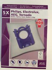 5 Sacs Aspirateur MICROFIBRE Philips, Electrolux, AEG, Tornado,  + 1 filtre