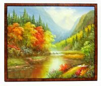 Forest Stream Brook Pond  20 x 24 Art Oil Painting on Canvas w/ Wood Frame