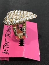 New Betsey Johnson Pave LOVE ME Heart Ring Crystals Vintage MSRP $45 Signed
