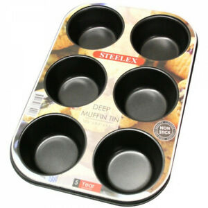 6 Cup Muffin Non Stick Bun Fairy Cake Baking Tray Carbon Steel Mould Tin