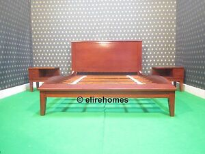 Mahogany 160x200  EU Queen Size Sleigh style Bed designer bedframe scandinavian