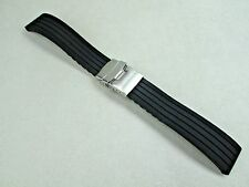 22mm men's black silicon rubber watch band deployment buckle fits Citizen