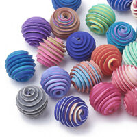 20pcs Mixed Color Handmade Polymer Clay Corrugated Beads Round 11~12x11~12mm