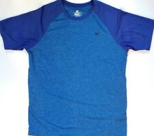 Mens Short Sleeve T Shirt Athletic Fitted Gym Tee Blue Casual Stretch Size Small