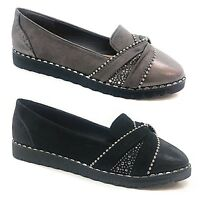 LADIES WOMENS FLAT CREEPER CHUNKY SOLE SCHOOL WORK DOLLY LOAFERS DIAMENTED SHOE