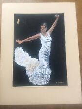 Signed Watercolour Painting Spanish Andalusian Romani Flamenco Dancer in White