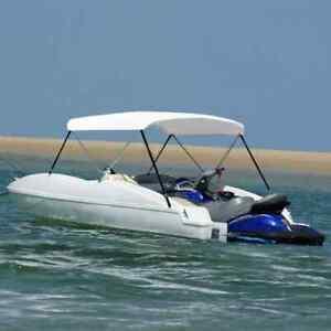 vidaXL 2-Bow Bimini Top Weiß 180x130x110cm Bootsverdeck Boot Sonnenverdeck