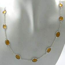"Gorgeous Bright Citrine Hydro 925 Sterling Silver 22"" Necklace Jewelry NC186"