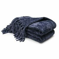 Thick Knitted Throw Blanket Fluffy Chenille Blankets for Couch Chair Bed 60x50in