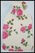 Warm Soft 2liter Large Hot Water Bottle With Removable Pattern Fleece Covers Pink Roses