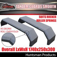 Pair Tandem Axle Smooth Trailer Caravan Mudguards. 250mm. Suits R/roller Springs