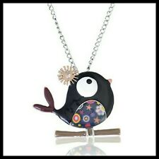 Vintage Style Cute  Enamel Bird Pendant Necklace Antique Silver + Gift Bag UK