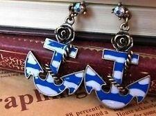 Vintage crystal enamel anchor and bronze rose earrings