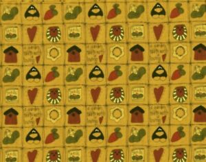 """1 YARD 36"""" LONG x 22"""" WIDE FABRIC TRADITIONS JUST BE CUZ CROW GARDEN SUNFLOWER"""