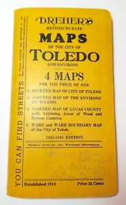 1945 Dreher's fold-out street map of Toledo, Ohio; vintage, history
