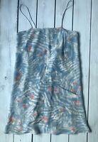 Topshop Boutique 100% Silk Pale Blue Fern Floral Leaf Print 90s Cami Dress 6 -B4