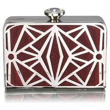 Red Art Deco Style Box Crystal Clasp Clutch Wedding Prom Party Evening Bag