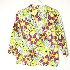 Bamboo Traders Womens 3-Button Blazer Tropical Hawaiian Floral Jacket Size 1X