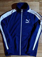 Puma 17 Vintage Mens Tracksuit Top Jacket Navy Blue White Stripes Sweatshirt