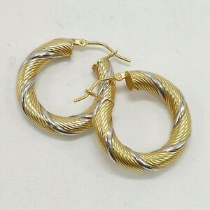 "18K Yellow and White Gold - Milor - Hollow Swirl Hoop Earrings - 1"" - 2.8 Grams"