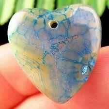 Blue Yellow Dragon Veins & Stripes Onyx Agate Heart Pendant & Sterling Chain