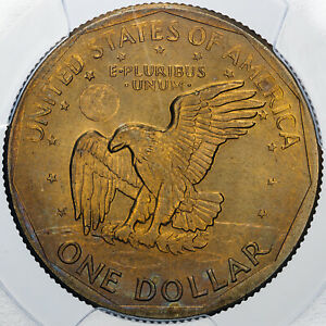 1980-S SUSAN B. ANTHONY $1 DOLLAR PCGS MS65 STUNNING LUSTER COLOR TONED COIN
