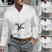 Mens Long Sleeve Casual Blouse Ethnic Style Tops Dress Shirts Printed Tee Plus