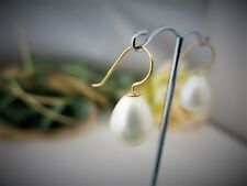 Ohrringe aus Muschelkernperlen 10x14mm Tropfen 925er Silber vergoldet