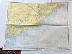 Vintage Nautical Chart Charleston Harbor and Approaches 1970 SC Map 34 x 44