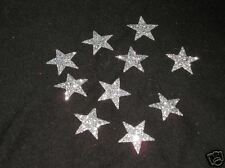 20 Hotfix iron on transfers silver glitter stars size 3.5cm halloween/costumes