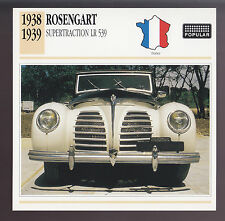 1938-1939 Rosengart Supertraction LR 539 France Car Photo Spec Sheet Info CARD