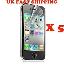 5 x FILM LCD SCREEN PROTECTOR APPLE IPHONE 4 4S CLEAR