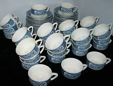LOT OF 8 CURRIER AND IVES CUP AND SAUCER HORSE AND BUGGY SCENE CURRIER & IVES