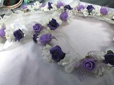 Purple/Ivory/Lilac Flower Circlet - Wedding Halo, Flower Girl - by Valerie J