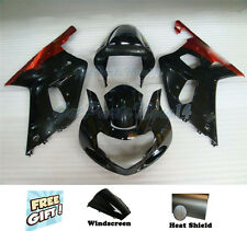 Fit for Suzuki GSXR 600 750 K1 2001 2002 2003 Black Plastic ABS Fairing Kit e027