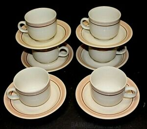 Set of 6 Stoneware Coffee Cups and Saucers Made In Japan