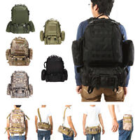 55L Military Molle Tactical Backpack Rucksack Camping Shoulder Bag Hiking Lot