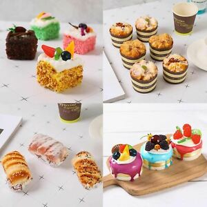 Set of 6 Real Touch Premium Artificial Cakes - MAGNETIC Fake Bread Dessert Fruit
