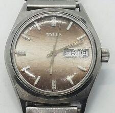 Vintage Wyler Quarts Lifeguard Stainless Steel Mens Wrist Watch
