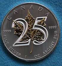 2013 Canadian Maple Leaf Special Edition 25th Anniversary Gold Plated Leaf $5 Co