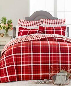 Martha Steward Wyoming Plaid Flannel Duvet Cover Red & White Full/Queen $160