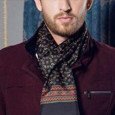 Mens 100% Silk Long Scarf Cravat Scarives Double Layer Black