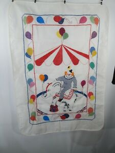 """Circus Clown Baby Quilt Top Hand Embroidered 30"""" x 41"""" Balloons Wall Hanging"""