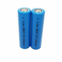 2pcs 18650 2200mAh INR Li-ion Battery High Drain Rechargeable Flat Top