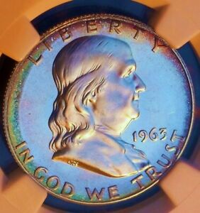1963 Silver Proof Franklin Half Dollar - NGC PF67 CAMEO - Toned