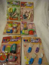 Color Gomiz novelty erasers carded packs  house hold items
